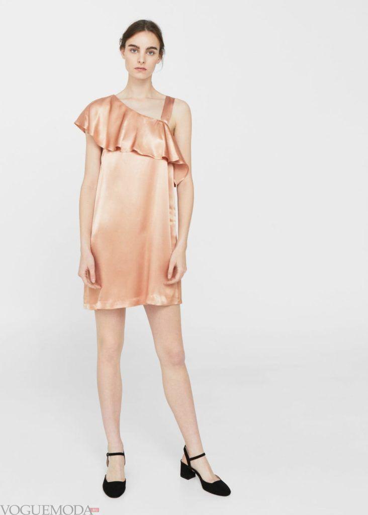 стильное платье 2019 2020 персиковое