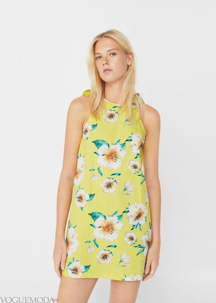 модное платье 2019 2020 жёлтое