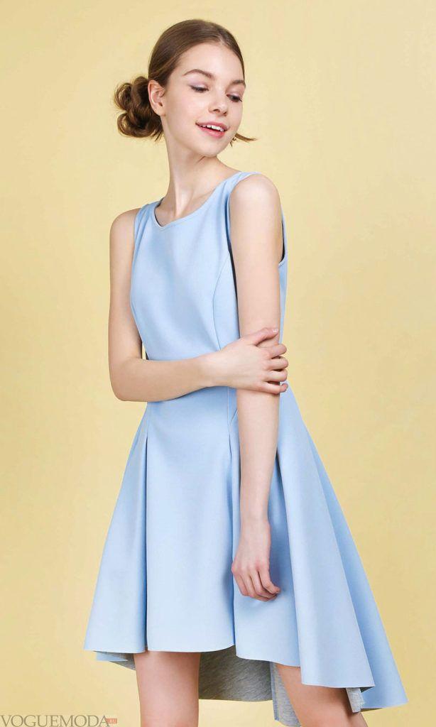 голубое короткое платье 2019 2020