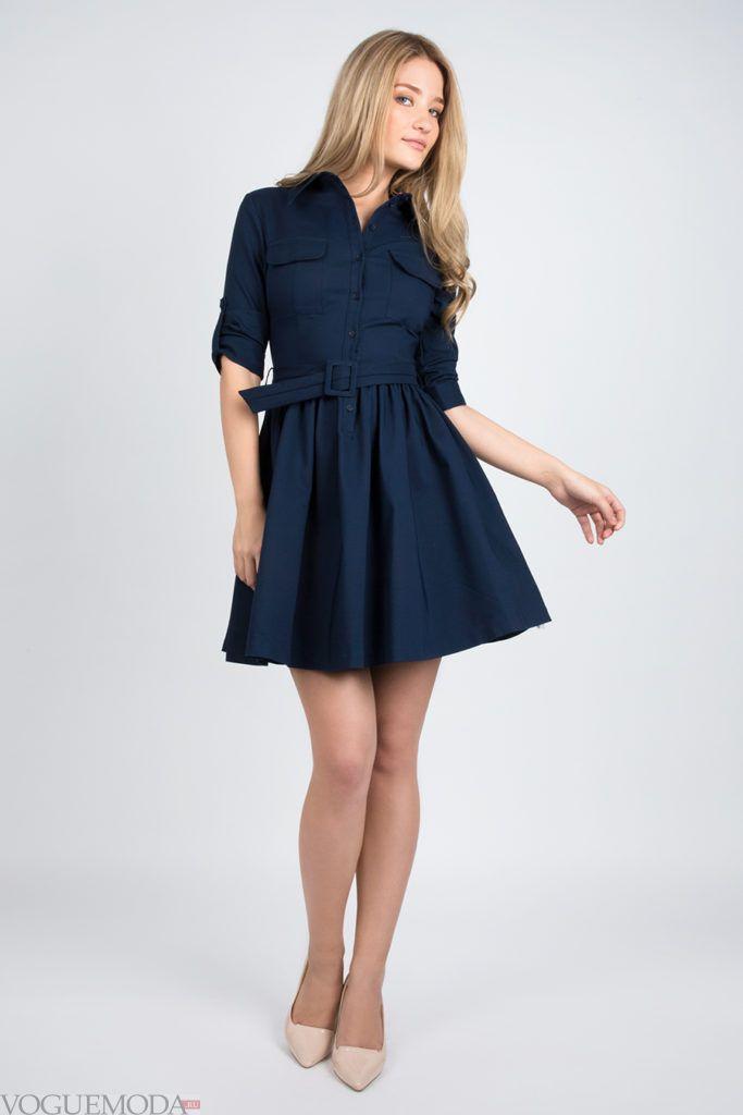 платье 2019 2020 синее модное