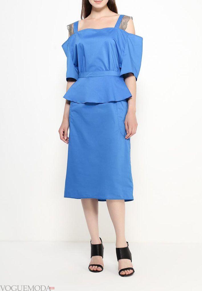 базовый гардероб на лето 2018 года - летнее платье синее