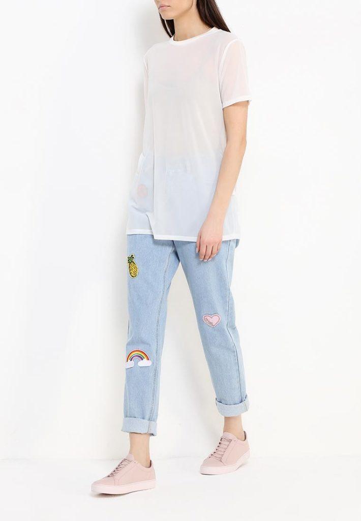 летние джинсы с разрезами