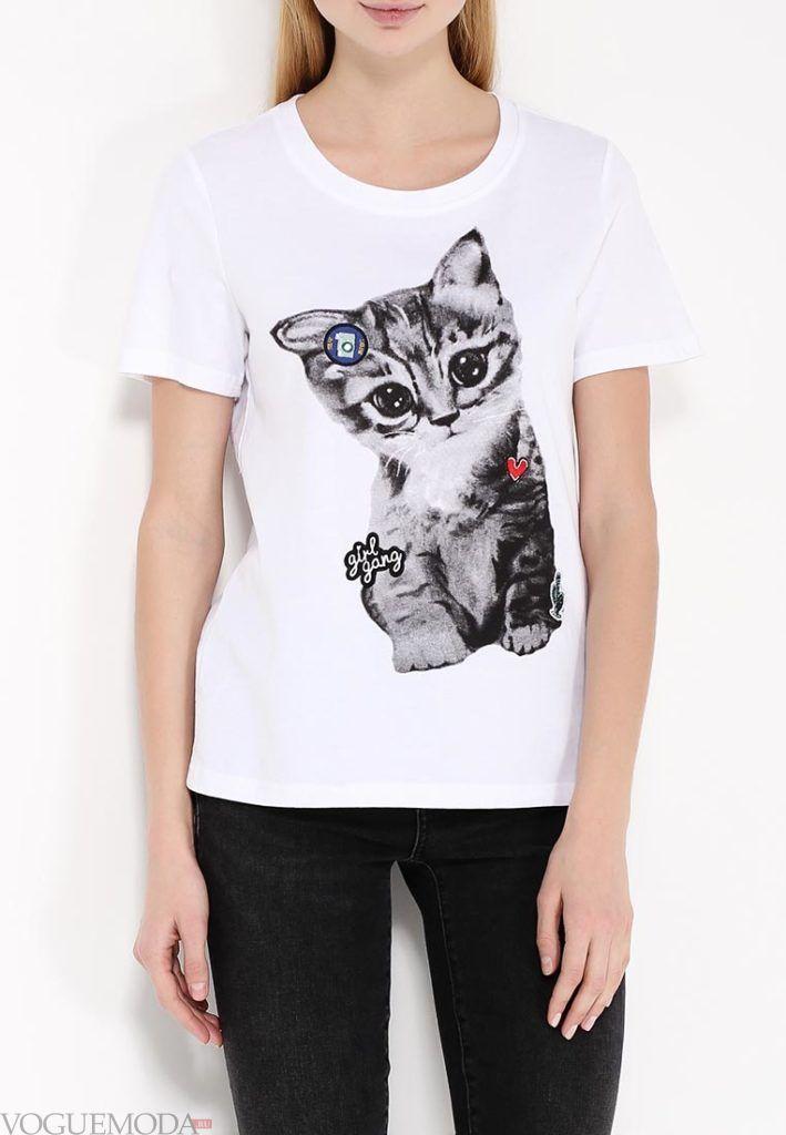 летняя футболка с котиком