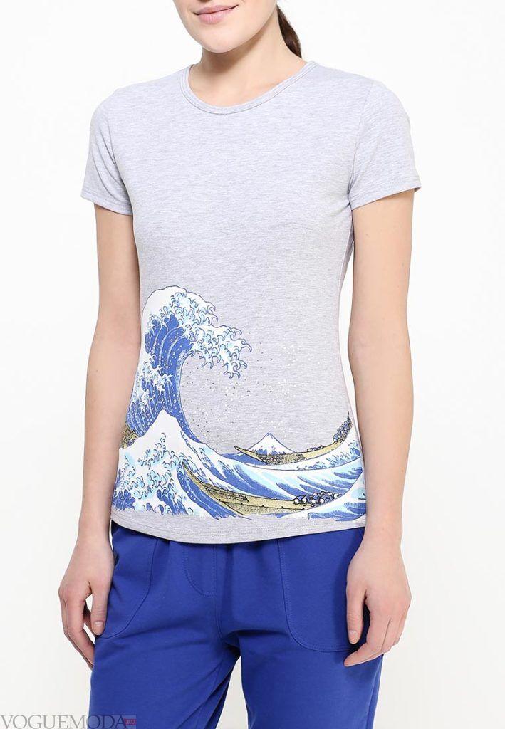 футболка на лето серая
