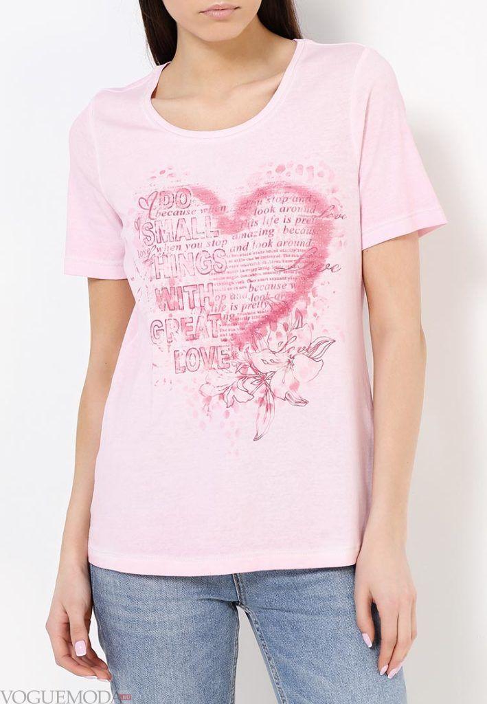 летняя футболка розовая