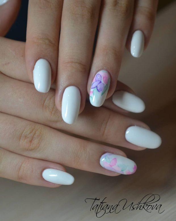круглые белые принт цветы