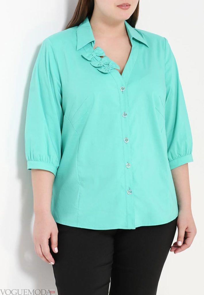 блузка с бантом бирюза