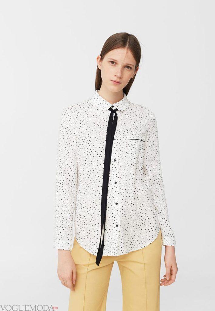 блузка в горох белая
