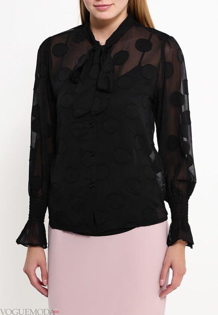 блузка в горох темная