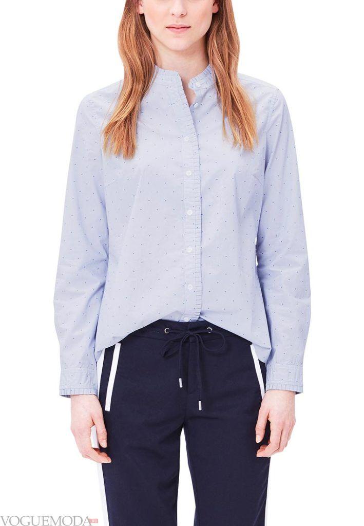 блузка в горох голубая