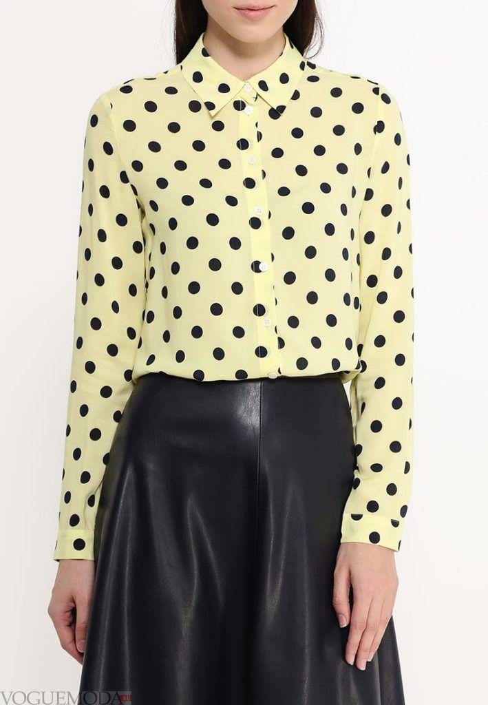 блузка в горох желтая