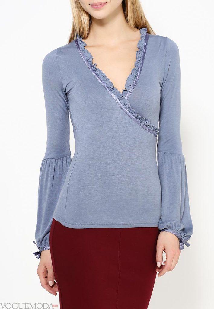 блуза с рюшами синяя