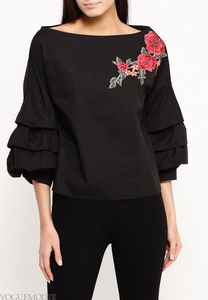 блуза с воланами черная