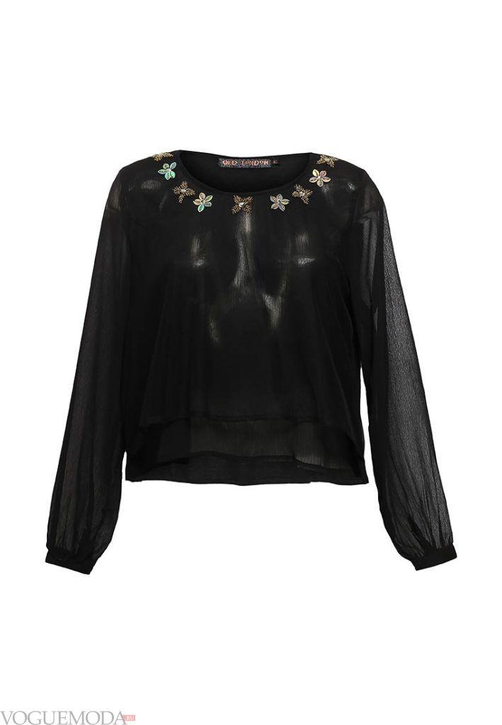 блузка с пышным рукавом черная