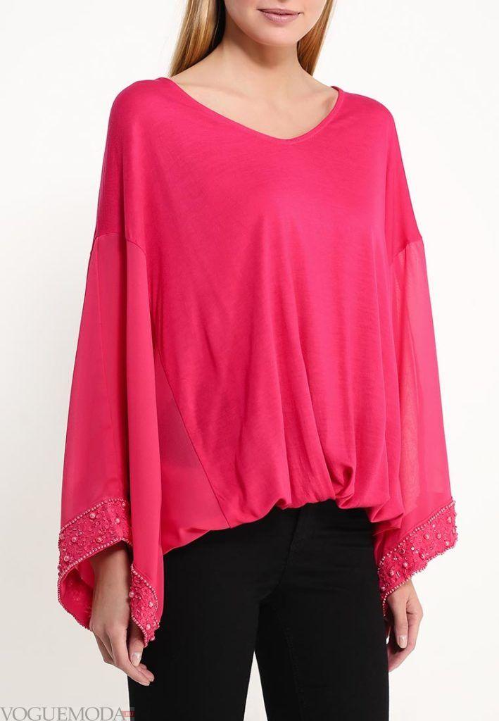 блузка с пышным рукавом розовая