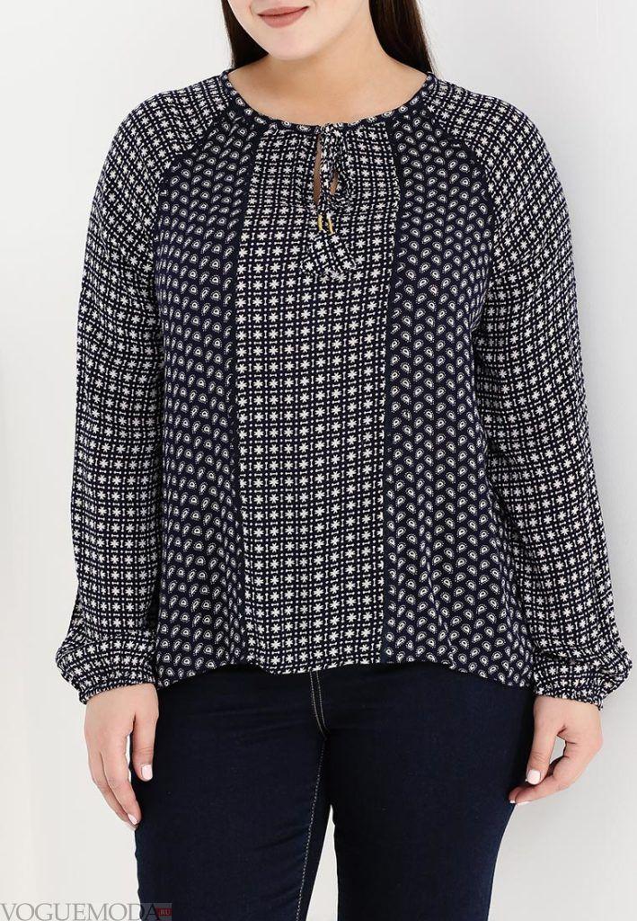 блузка с пышным рукавом темная