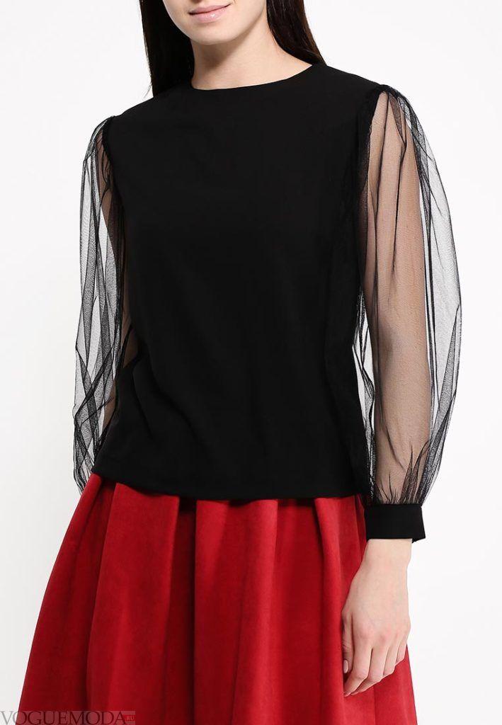 блузка с пышным рукавом прозрачная
