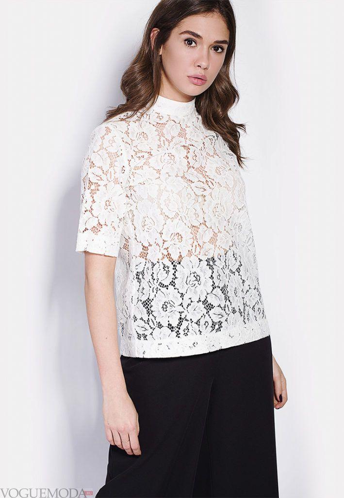 блузка кружево белая