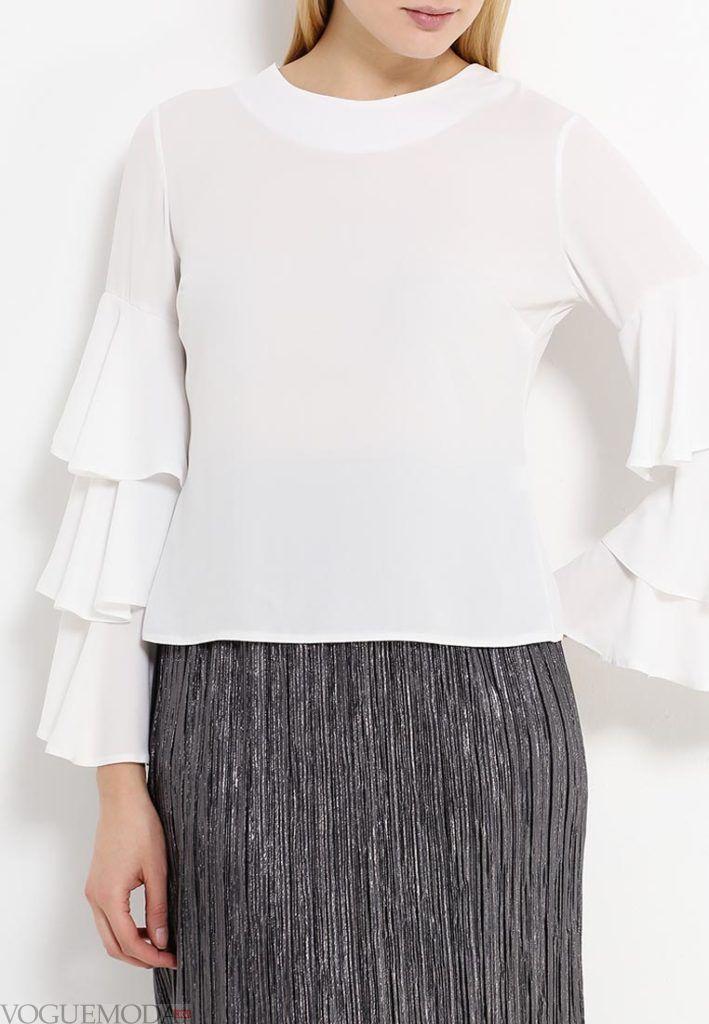 блузка с пышным рукавом белая