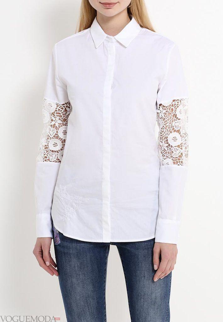 блузка с воротником белая