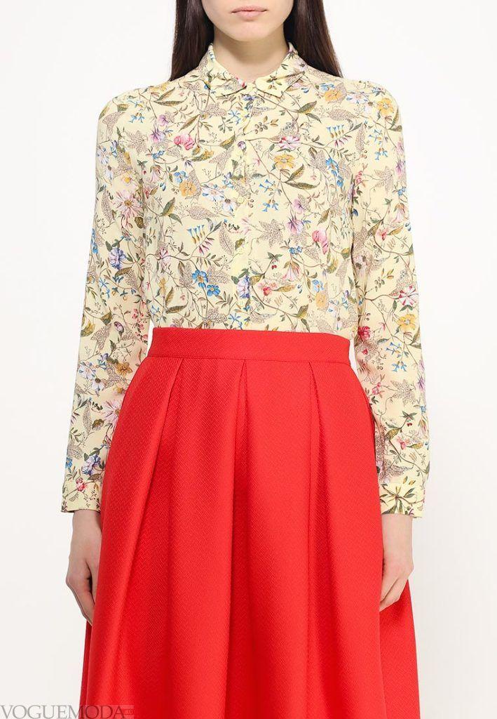 блузка с воротником цветочный принт