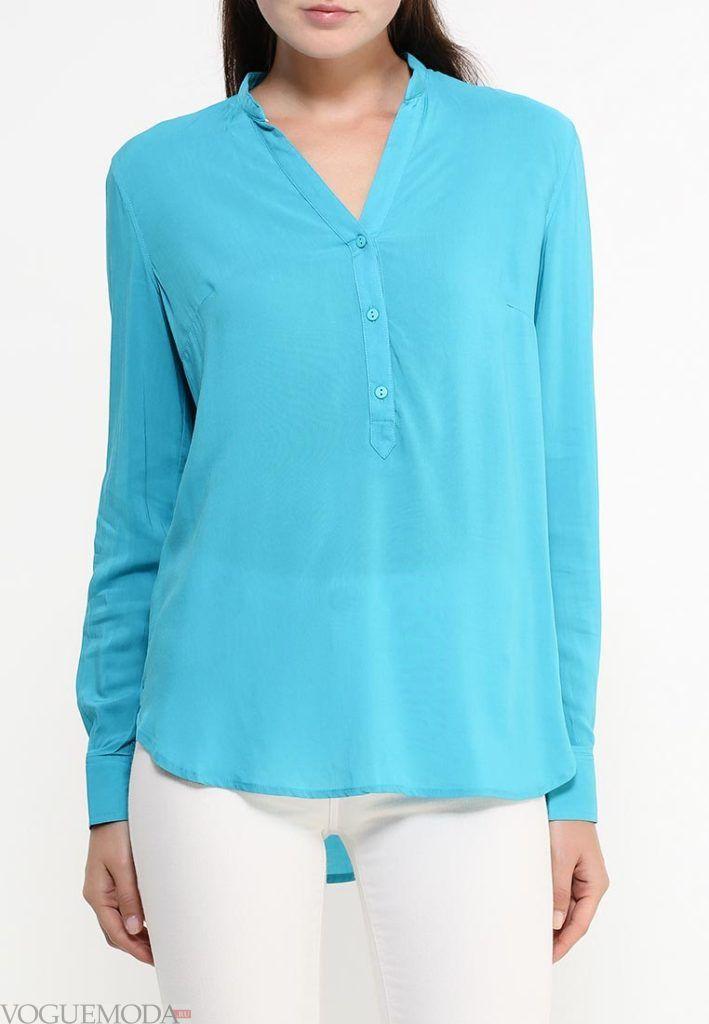 блузка с воротником мятная