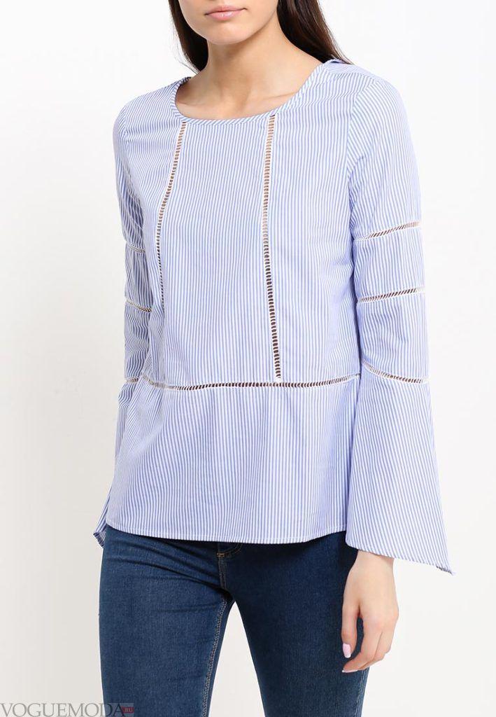 блузка с длинным рукавом голубая