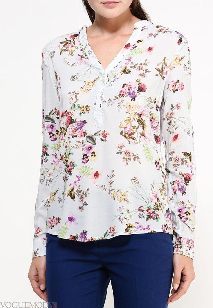 блузка с длинным рукавом цветочная