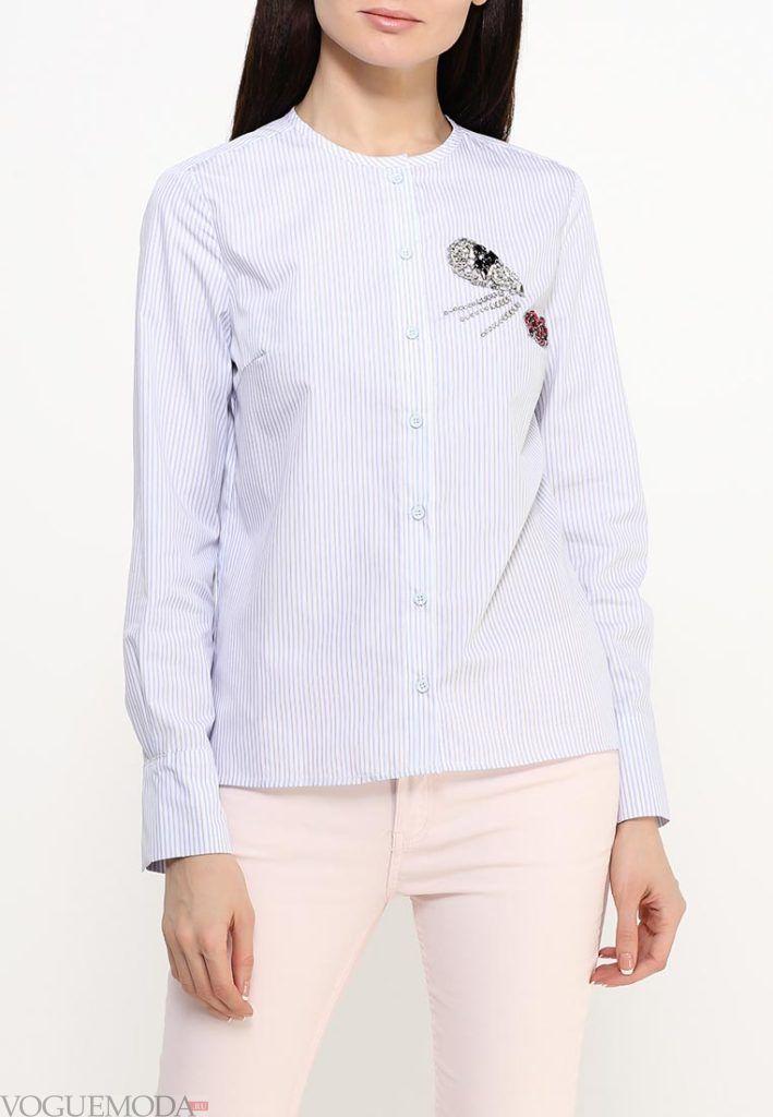 блузка с длинным рукавом светлая