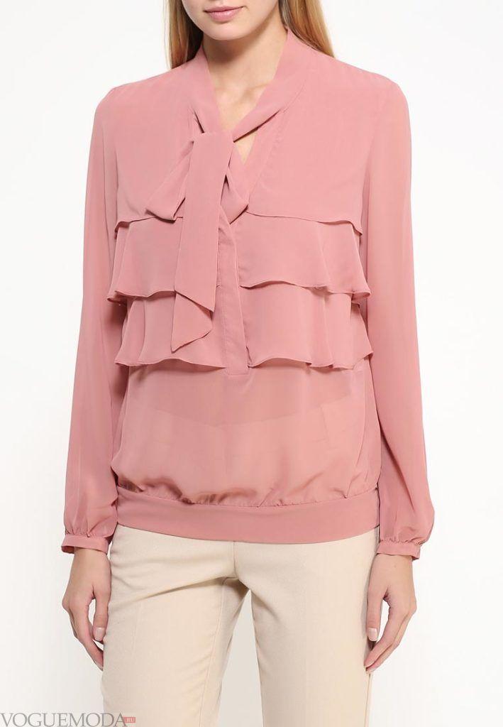блузка с длинным рукавом нюдовая