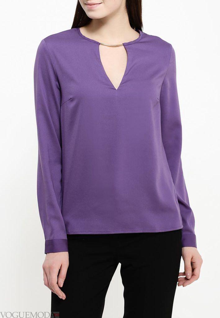 блузка с длинным рукавом фиолетовая
