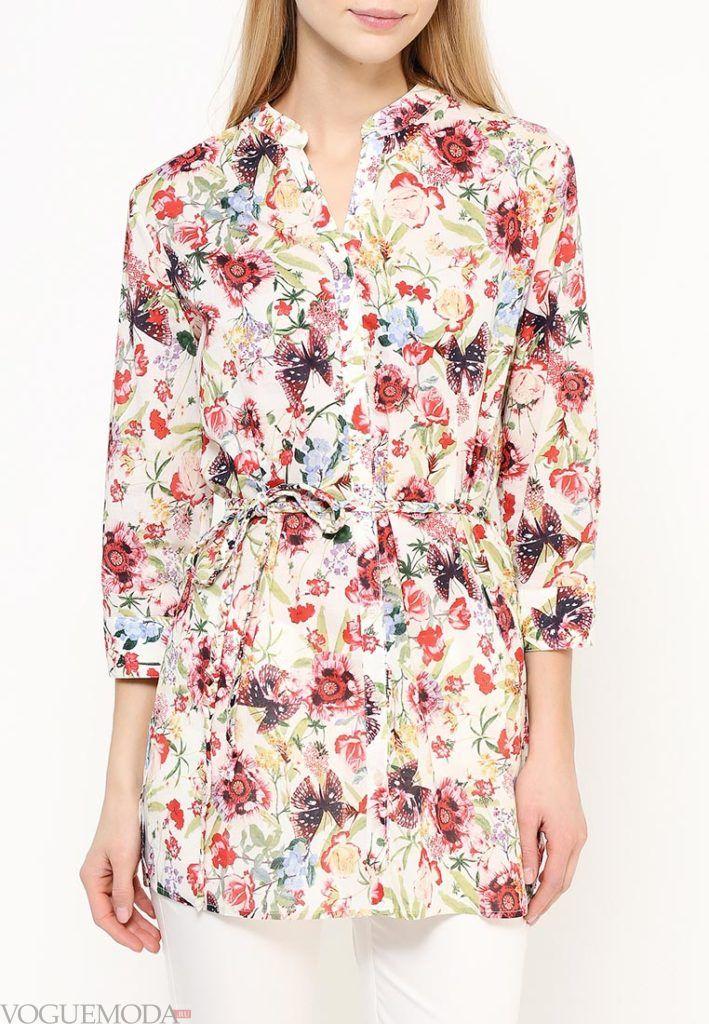 блузка с поясом цветочная