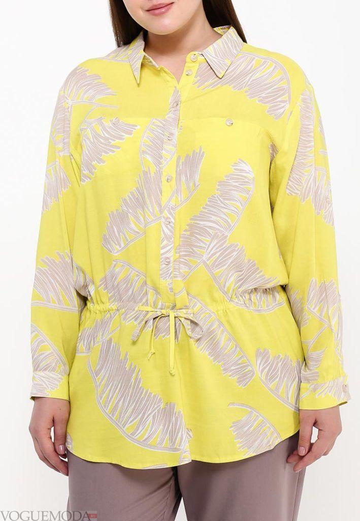 блузка с поясом желтая