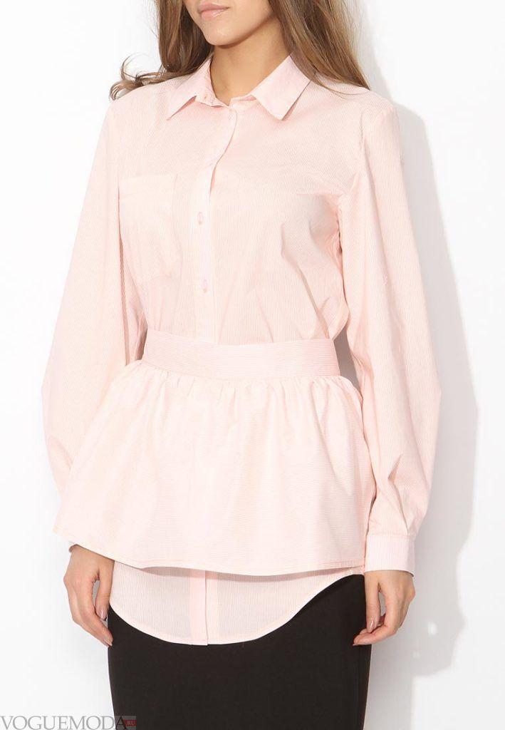блузка с поясом розовая