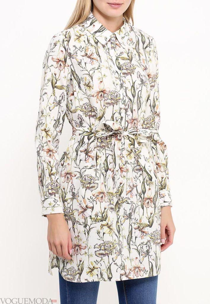 блузка с поясом и принтом