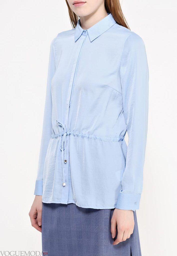 блузка с поясом голубая