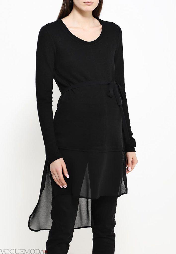 блузка с поясом черная