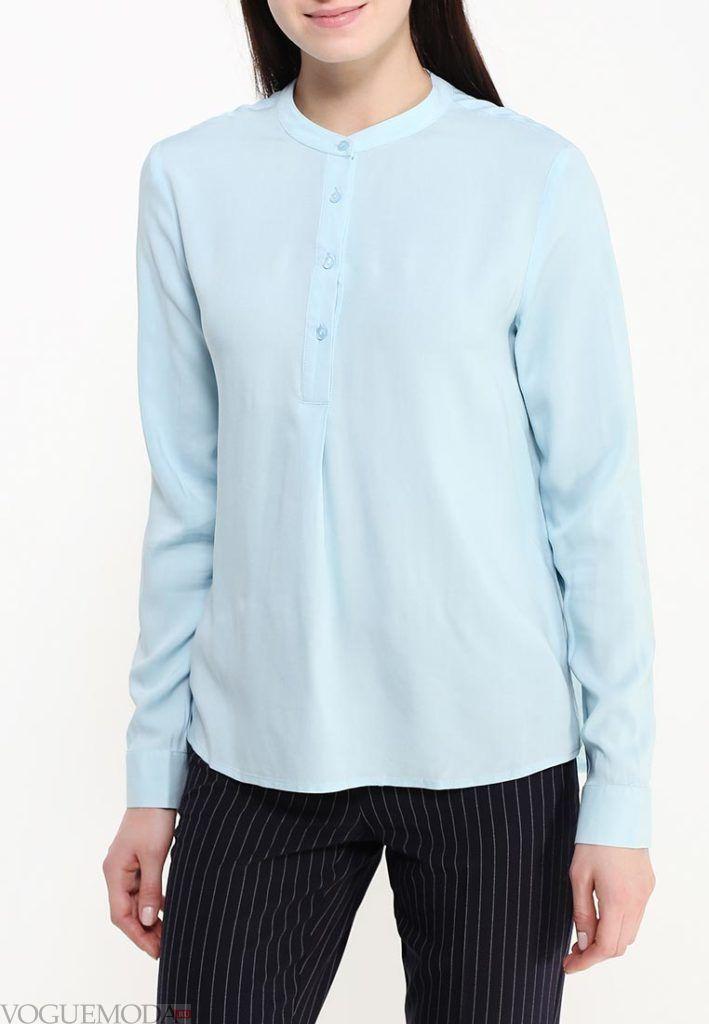 блузка цветная голубая
