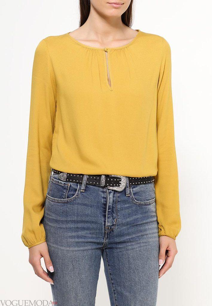 блузка цветная желтая