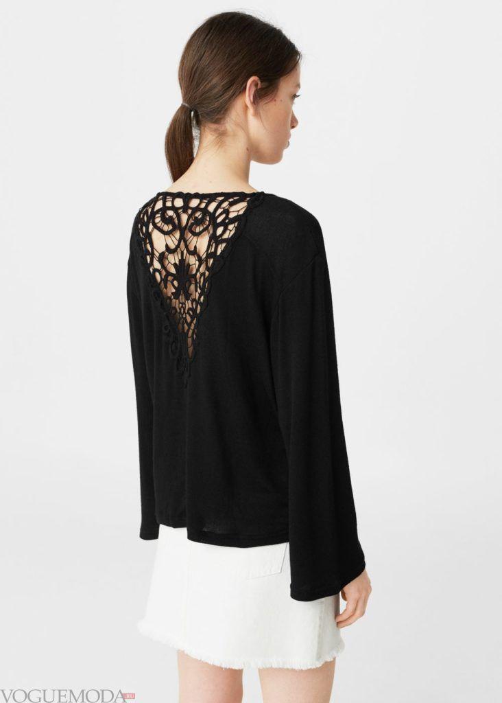 блузка с декором чёрная