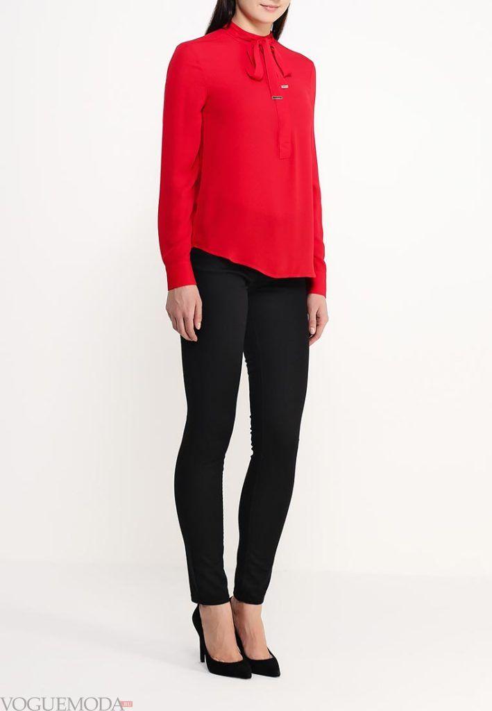 блузка с бантом красная