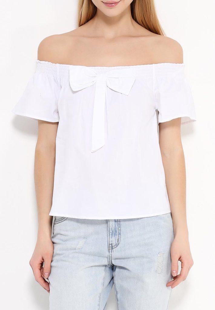 блузка с бантом белая