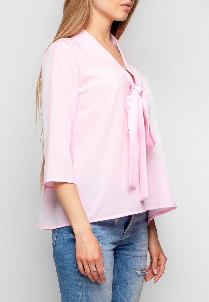 блузка с бантом розовая