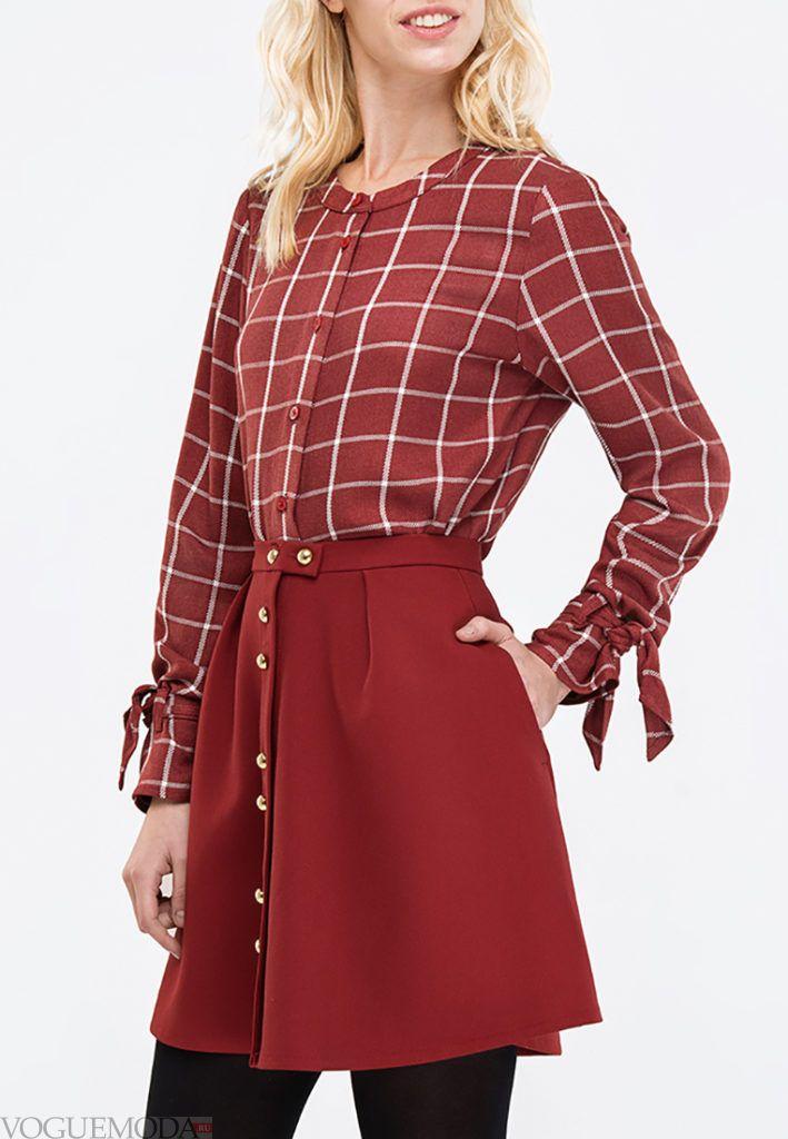 блузка с бантом в клеточку