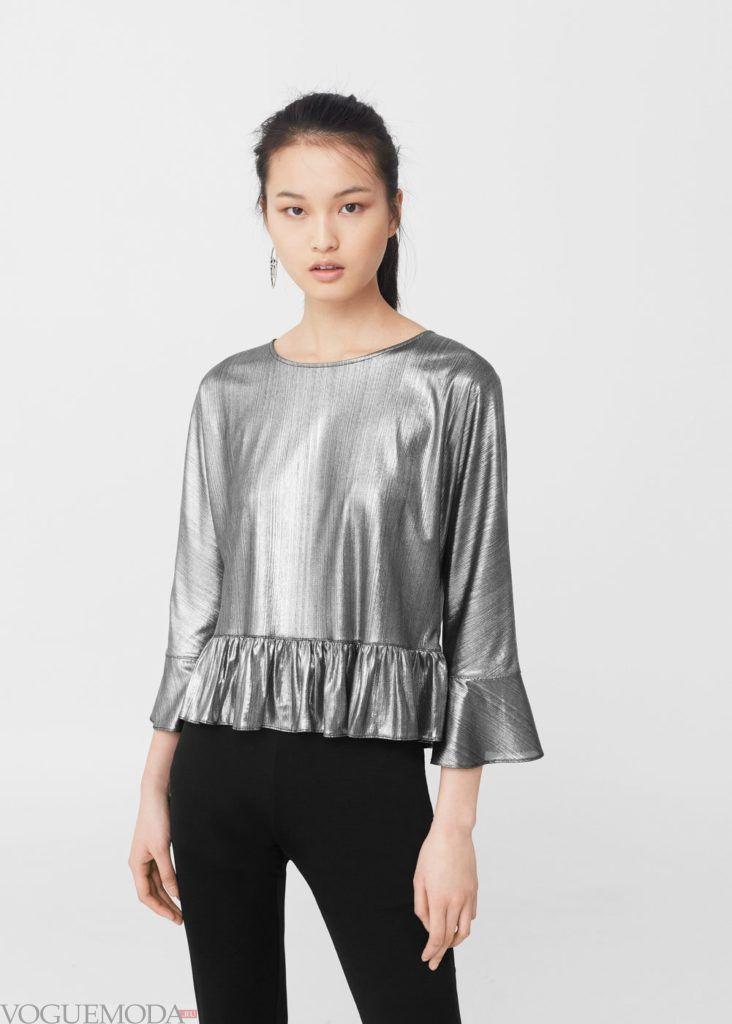 блузка с декором серебро