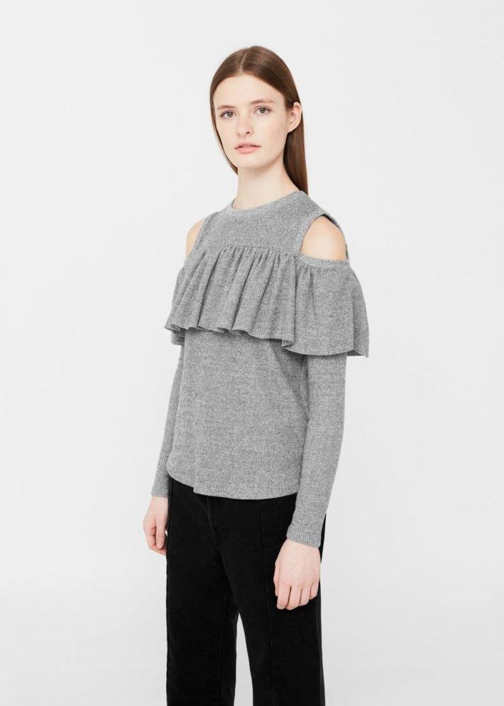 блузка с открытыми плечами серая
