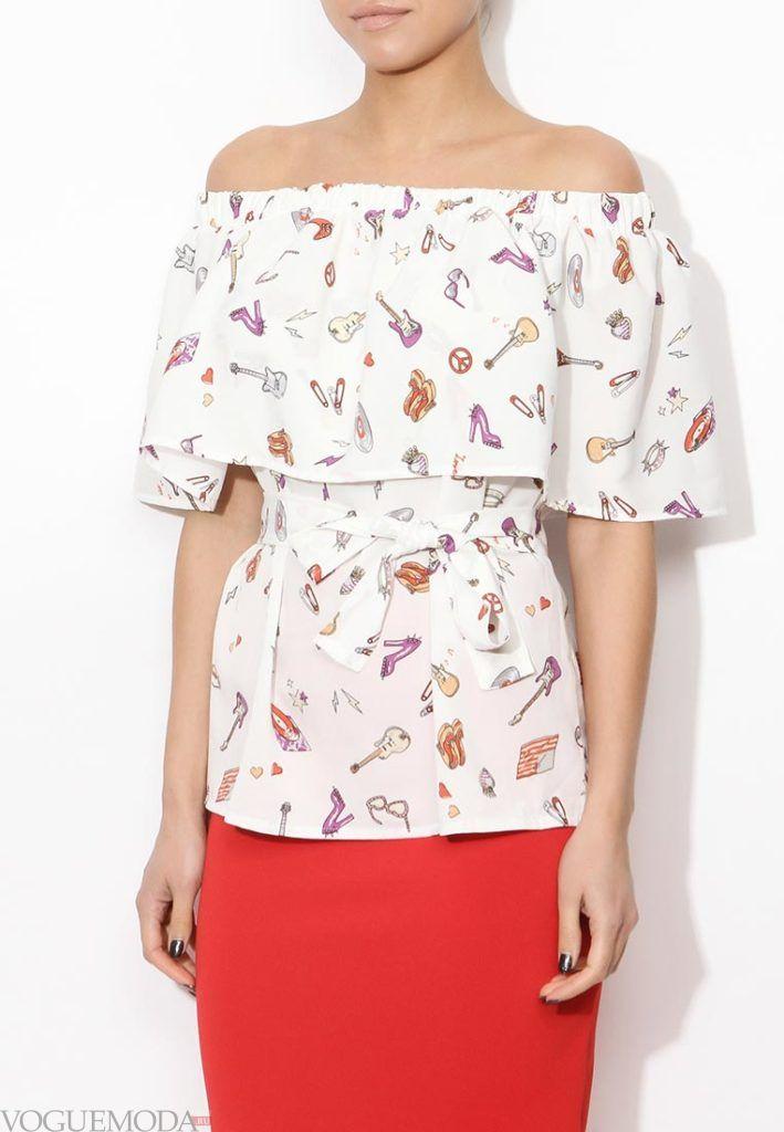 блузка с открытыми плечами разноцвет