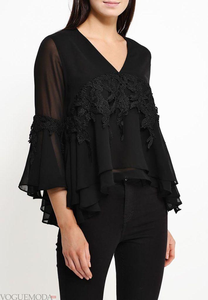 блузка асимметричная чёрная