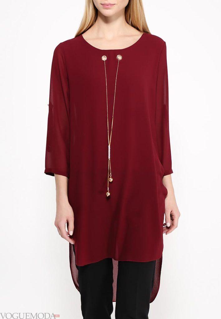 блузка асимметричная бордо