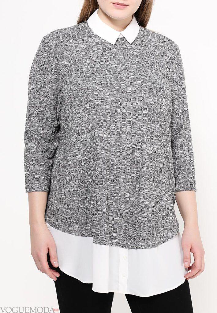блузка асимметричная серая